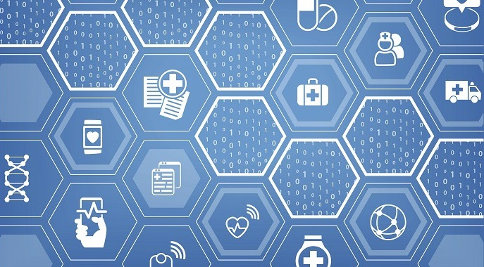 Electronic e-healthcare blue vector background with hexagonal shapes